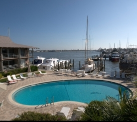 Pool view of marina and Naples Bay