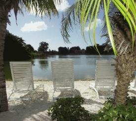 Lakeside sandy lounging beach