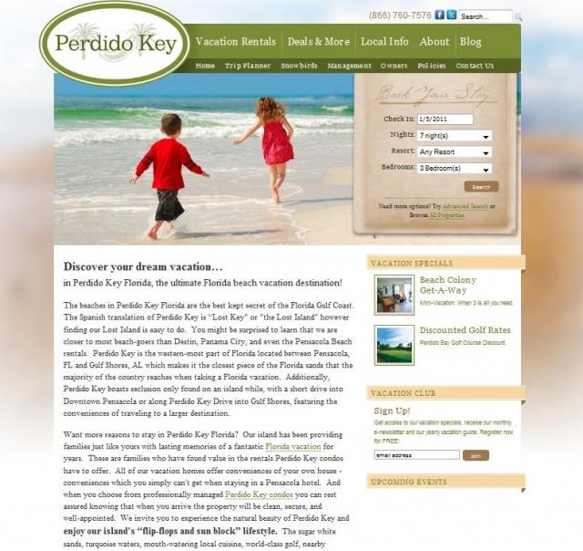 PerdidoKeyFlorida.com homepage
