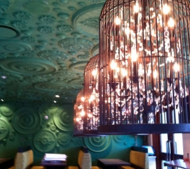 Dynamic decor in Barbatella's main dining area and bar