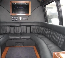 Interior of new 14-passenger limousine party bus