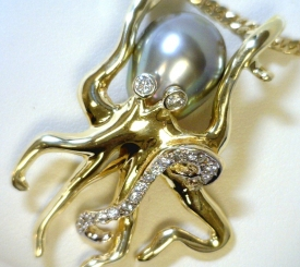 Gray Pearl & Diamonds Octopus Pendant - Dramatic & Beautiful <Manager Favorite>
