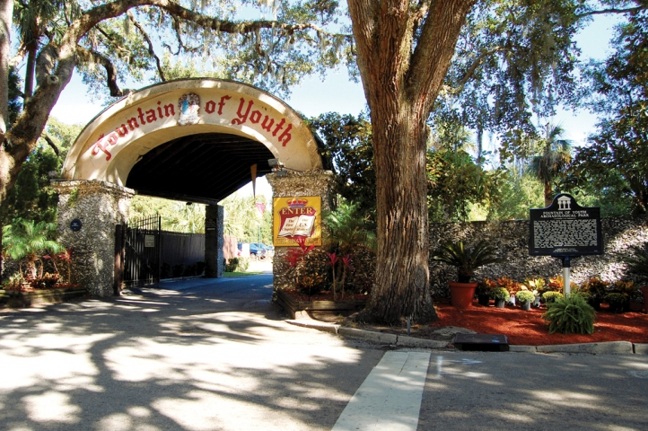 The front arch of Ponce de Leon's Fountain of Youth welcomes you to the Park