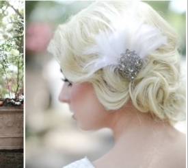 Beautiful 1920's inspired finger wave bridal undo. Hair by Sir Daniel with makeup by David Frohmberg