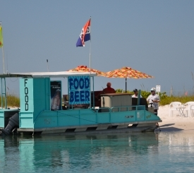 Snacks and drinks are available from the food concession boat at Keewaydin Island.