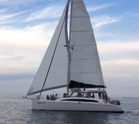 42 ft. catamaran named Cool Beans. This boat will accommodate up to 20 passengers.