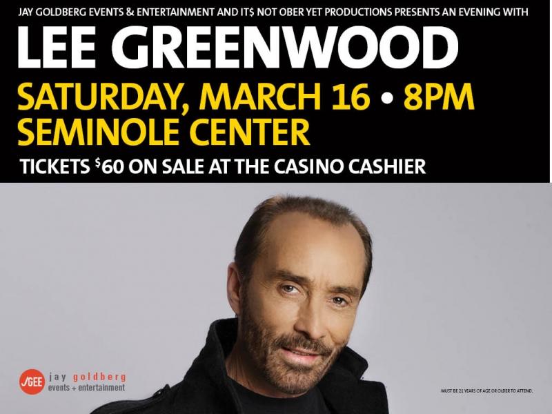 Lee Greenwood at Seminole Casino Hotel Immokalee